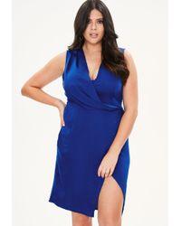 Missguided - Plus Size Blue Wrap Drape Front Dress - Lyst