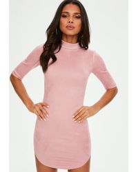 b499f11a65 Lyst - Missguided Petite Faux Suede Wrap Over Dress Nude in Pink