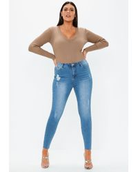 e1e803c50ba3e Missguided - Plus Size Blue Sinner Distressed Skinny Jeans - Lyst
