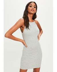 Missguided - Gray 90s Neck Bodycon Dress - Lyst