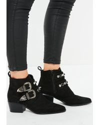 Missguided - Black Western Double Strap Boots - Lyst