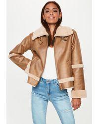 Missguided Brown Crop Zip Aviator Jacket
