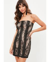 Missguided - Black Lace Bandeau Eyelet Bodycon Dress - Lyst