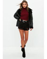 Missguided - Black High Waisted Shredded Denim Shorts - Lyst