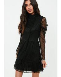 Missguided - Black Polka Dot Mesh Puffed Sleeve Dress - Lyst