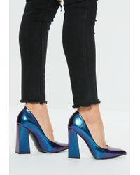 Missguided - Blue Flared Point Heel Pumps - Lyst
