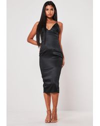 Missguided - Black Satin Cupped Midi Dress - Lyst