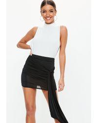 Missguided - Black Slinky Drape Skirt - Lyst