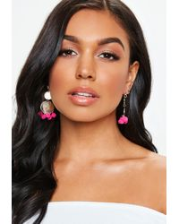 Missguided - Gold Look Pink Pom Pom Earrings - Lyst