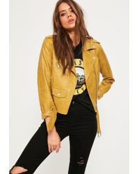 Missguided | Mustard Ultimate Faux Leather Biker Jacket | Lyst
