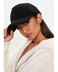 Missguided - Black Shearling Cap - Lyst