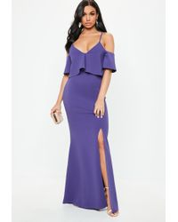 Missguided - Purple Strappy Frill Fishtail Maxi Dress - Lyst