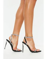 Missguided - Black Embellished Studded Barely There Heels - Lyst