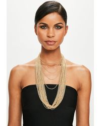 Missguided - Peace + Love Gold Multichain Necklace - Lyst