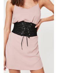 Missguided - Black Lace Up Corset Waist Belt - Lyst