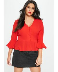 Missguided - Curve Red Button Detail Blouse - Lyst