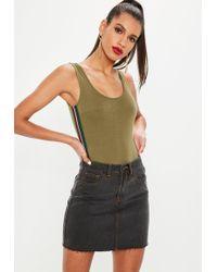 Missguided - Black Coloured Stitch Raw Hem Denim Mini Skirt - Lyst