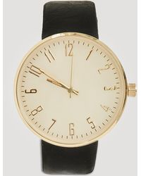 Missguided - Gold Large Face Contrast Strap Watch - Lyst