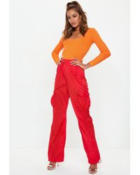 Missguided - Red Combat Drawcord Trousers - Lyst