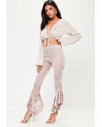 Missguided - Grey Velvet Asymmetric Frill Side Cigarette Trousers - Lyst