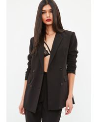 Missguided - Black Button Double Breasted Longline Blazer - Lyst