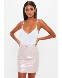 9022173595 Missguided Ribbed Bodycon Midi Skirt Nude in Natural - Lyst
