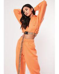 Missguided Orange Buckle Belted Cropped Hoodie