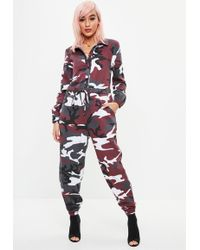 Missguided - Red Camo Boiler Jumpsuit - Lyst