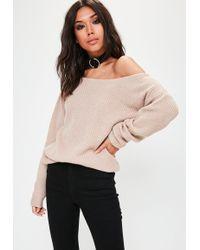 Missguided - Beige Off Shoulder Knitted Jumper - Lyst