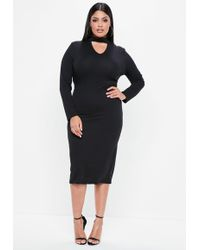 Missguided - Plus Size Black Choker Neck Longline Bodycon Dress - Lyst