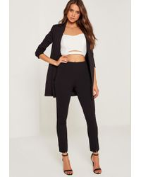 Missguided - Petite Black Skinny Fit Cigarette Trousers - Lyst