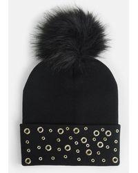 c76d30e5d29 Lyst - Missguided Black Faux Fur Pom Pom Beanie Hat in Black