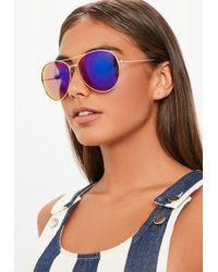 Missguided - Gold Glam Aviator Sunglasses - Lyst