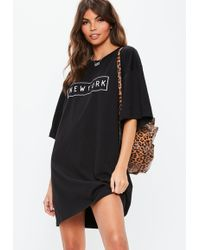 bf302797791 Missguided Curve Black Sequin T-shirt Dress in Black - Lyst