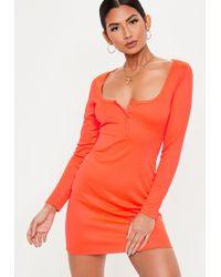 58c36aae26 Missguided - Neon Orange Long Sleeve Popper Front Mini Dress - Lyst