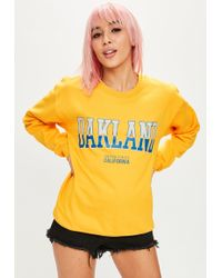 Missguided - Yellow Oakland Graphic Sweat - Lyst