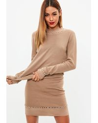 Missguided - Brown Pearl Trim Knitted Skirt Co Ord - Lyst