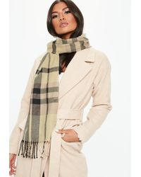 Missguided - Cream Checked Scarf - Lyst