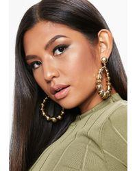 Missguided - Gold Look Bead Drop Earrings - Lyst