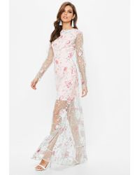 Missguided - Nude Embroidered Lace Long Sleeve Maxi Dress - Lyst