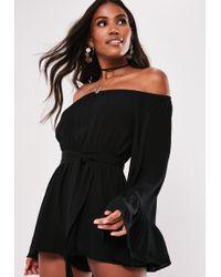 fb0dd51682 Missguided - Tall Black Flare Sleeve Bardot Playsuit - Lyst