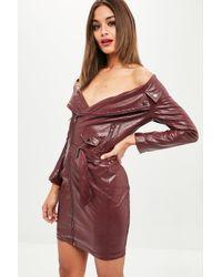 Missguided - Wine Faux Leather Off Shoulder Biker Dress - Lyst