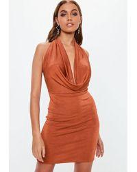 Missguided - Rust Slinky Extreme Cowl Mini Dress - Lyst