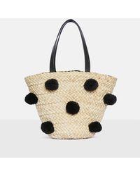 Missguided - Black Pom Pom Bucket Bag - Lyst