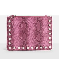 Missguided | Pink Snake Zip Top Clutch Bag | Lyst