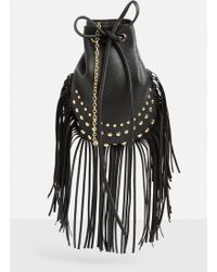 Missguided | Black Faux Leather Studded Tassel Cross Body Bag | Lyst