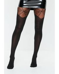bcfeee180 Missguided - Halloween Black Cobweb Pantyhose - Lyst