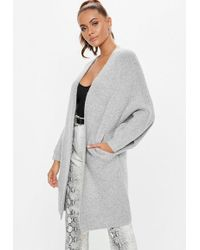 Missguided - Grey Oversized Batwing Long Knitted Cardigan - Lyst