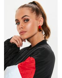 Missguided - Brown Tortoiseshell Red Stud Round Earrings - Lyst