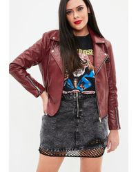 Missguided - Curve Red Faux Leather Embroidered Biker Jacket - Lyst